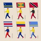 People with flags: Curacao, Grenada, Trinidad and Tobago, Costa Rica, Colombia, Aruba Royalty Free Stock Photo