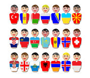 People and flags from Europe. Illustration of representative people from Europe dressed in their national flags Royalty Free Illustration