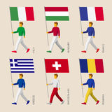 People with flags: France, Romania, Hungary, Italy, Switzerland, Stock Photo