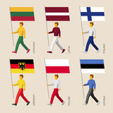 People with flags: Germany, Latvia, Estonia, Lithuania, Finland, Royalty Free Stock Photos