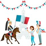 People with flags in hands welcome on parade of soldiers horses against backdrop eiffel tower in France, French national royalty free illustration