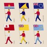 People with flags - Kiribati, Tokelau, Cook Islands, Tonga, Niue, Tuvalu Stock Image