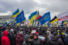 People and flags at meeting in Kiev Royalty Free Stock Photos