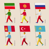People with flags: Russia, Kazakhstan, Kyrgyzstan, Turkey, Tatar Stock Photography