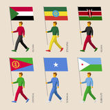 People with flags: Sudan, Ethiopia, Kenya, Eritrea, Somalia. Set of simple flat people with flags of African countries. Standard bearers infographic - Sudan Stock Photography