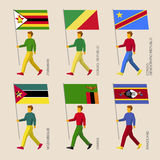 People with flags Zimbabwe, Zambia, Mozambique, Swaziland, Congo Republic and Congo Democratic Republic Stock Images