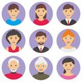 People Flat Cartoon. People avatar vector with flat design Stock Photography