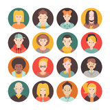 People flat circle icon vector set men and women. Part one. Stock Photo