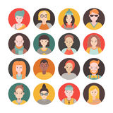 People flat circle icon vector set men and women. Part two. Stock Photo