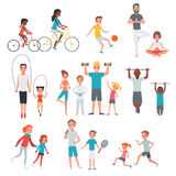People Flat Fitness Set. With parents and children involving in sport activities isolated vector illustration vector illustration