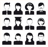 People flat icons set black and white Stock Photography