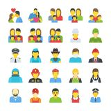 People Flat Icons Set. Flat icons of people in this set represent individuality of each person. This pack proves to be useful in various projects like; society Royalty Free Stock Image