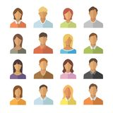 People flat icons set. Men and woman different nationality sign collection. Anonymous user icon royalty free illustration