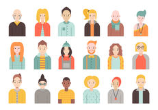 People flat icons vector set men and women. Part two. Royalty Free Stock Images