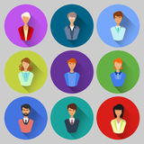 People Flat Icons With Long Shadow. Royalty Free Stock Photos
