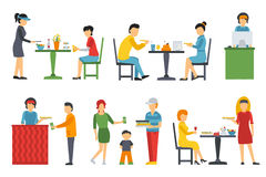 People in a flat interior. Pizza icons set. Cashier, Deliveryman, Customers, Bistro, Waiters, Delivery. Pizzeria Royalty Free Stock Photo