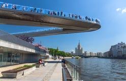 People on a floating bridge stock photos