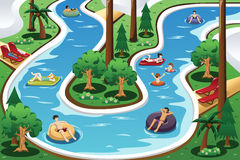 People floating in a lazy river pool stock illustration