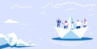 Free People Floating On Paper Boat Men Women Using Gadgets Traveling Together Digital Addiction Web Surfing Concept Royalty Free Stock Photo - 156227395
