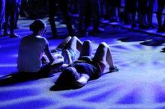 People on the floor watch a concert at FIB (Festival Internacional de Benicassim) 2013 Festival Stock Photo