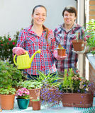 People florists in the garden Royalty Free Stock Photography