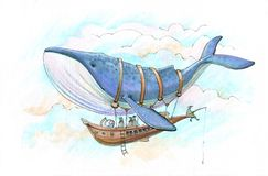 Whale airship journey. People fly on the airship harnessed by a blue whale royalty free stock image