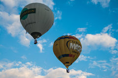 People fly in basket of balloon. Stock Images