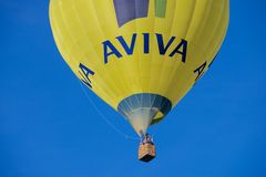 People fly with the hot air balloon in Vilnius, Lithuania. Stock Photo