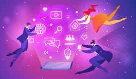 People Flying Around of Tablet with Glowing Screen royalty free illustration