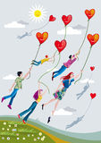 People Flying With Hearts. Boys and girls are raised over the fields clinging to ropes that hold smiling hearts stock illustration