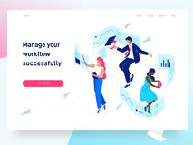People flying and interacting with graphs and papers. Business and workflow management. Landing page template, vector royalty free illustration