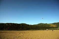 People flying kite on beach Stock Photo