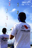 People flying kites. People are flying group kites at marina barrage in singapore Stock Photography