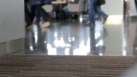 People foot at the airport stock footage