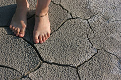 People foot and  desert ground Royalty Free Stock Photos
