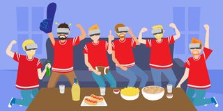 People with football party Royalty Free Stock Image
