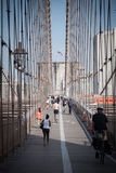 People on footpath of Brooklyn Bridge Royalty Free Stock Photo