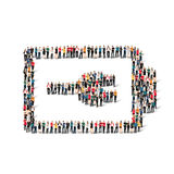 People form battery charge. A large group of people in the form of battery , charge . Vector illustration Stock Photo