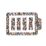 People form battery charge. A large group of people in the form of battery , charge . Vector illustration Stock Photos