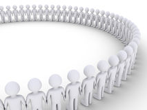 People form a big circle. 3d people standing next to each other form a big circle Royalty Free Stock Photos