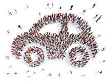 People in the form of a car stock illustration