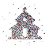 People in the form of  church. Royalty Free Stock Photography