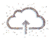 People in the form of clouds. Large group of people in the form of clouds. White background Vector Illustration