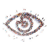 People in the form of eye. A large group of people in the form of the eye. Isolated, white background royalty free illustration