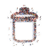People in the form of garbage can. A large group of people in the form of garbage can. Isolated, white background Royalty Free Stock Photos
