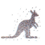 People in the form of a kangaroo. Royalty Free Stock Image