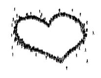 People form a love shape. All people form a love shape mean sharing Stock Image