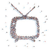 People in the form of an old TV. Royalty Free Stock Photo