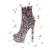 People in the form of shoes. Large group of people in the form of shoes. Isolated, white background Royalty Free Stock Photo