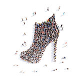 People in the form of shoes. Large group of people in the form of shoes. Isolated, white background Stock Photography